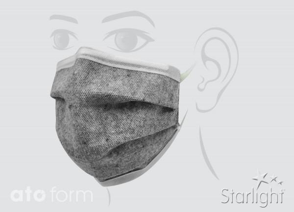 Mund-Nasen-Maske, gefaltet, grau meliert, 3-lagig