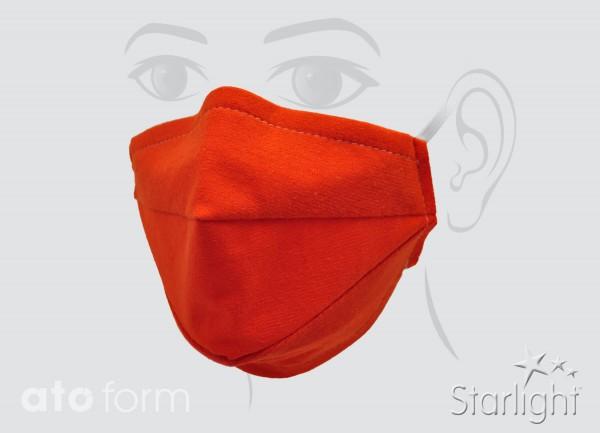 Mund-Nasen-Maske, Baumwollgemisch orange, zwei Abnäher