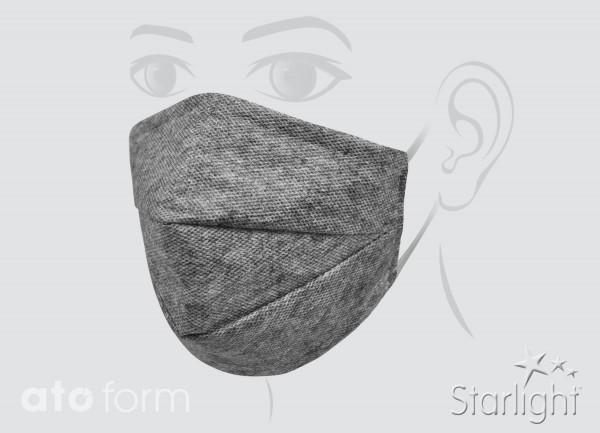 Mund-Nasen-Maske, grau meliert, zwei Abnäher
