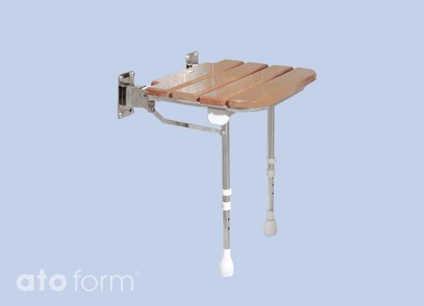 Einklappbarer Sitz aus Holz mit Stuhlbeinen