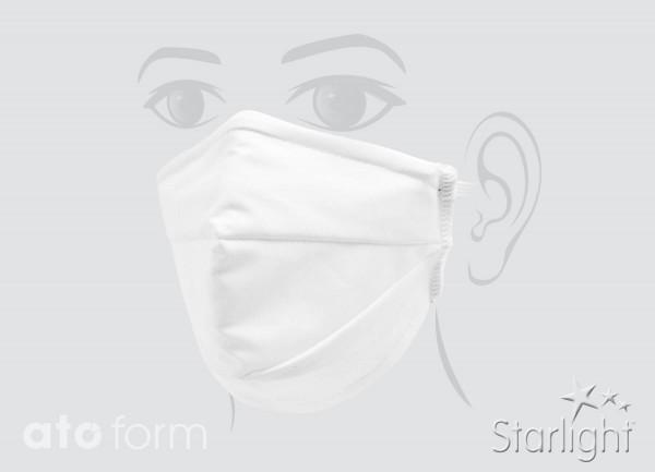 Mund-Nasen-Maske, Baumwolle weiß, zwei Abnäher