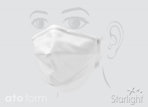 Mund-Nasen-Maske, Vlies weiß, zwei Abnäher