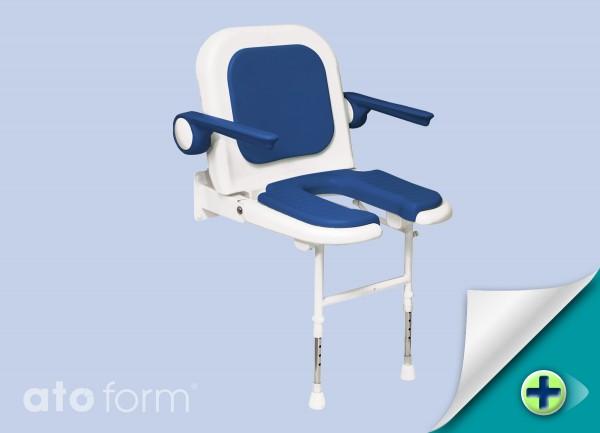 Duschklappsitz 4000, mit Arm- und Rückenlehne, Ausschnitt für die Intimpflege