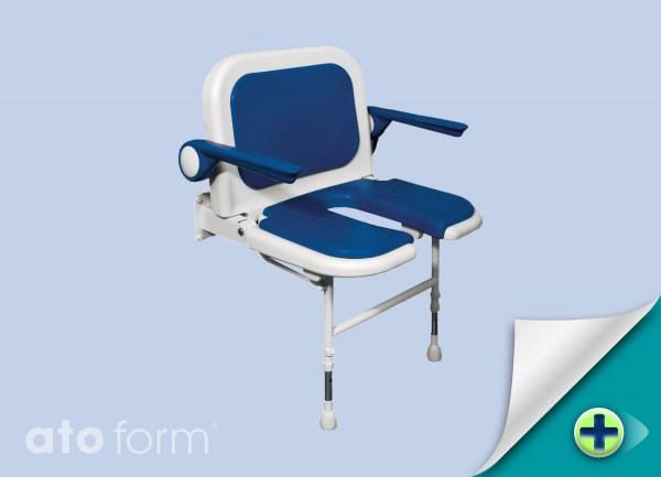 Duschklappsitz 4000, extra breit, Arm- & Rückenlehne, Ausschnitt für Intimpflege