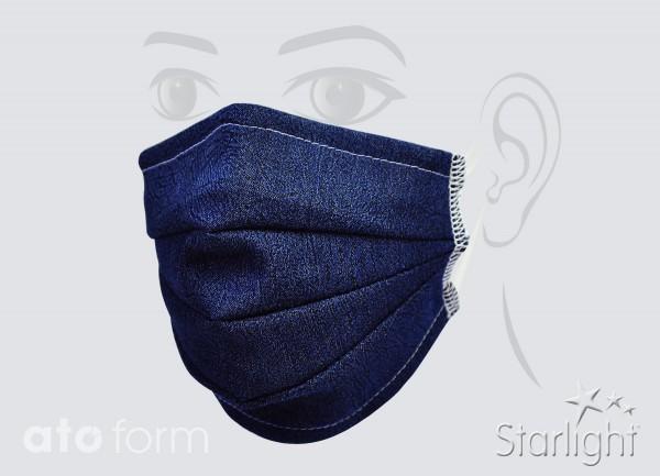 Mund-Nasen-Maske, Jeans blau, drei Abnäher