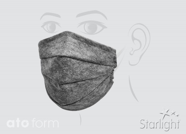 Mund-Nasen-Maske, grau meliert, drei Abnäher