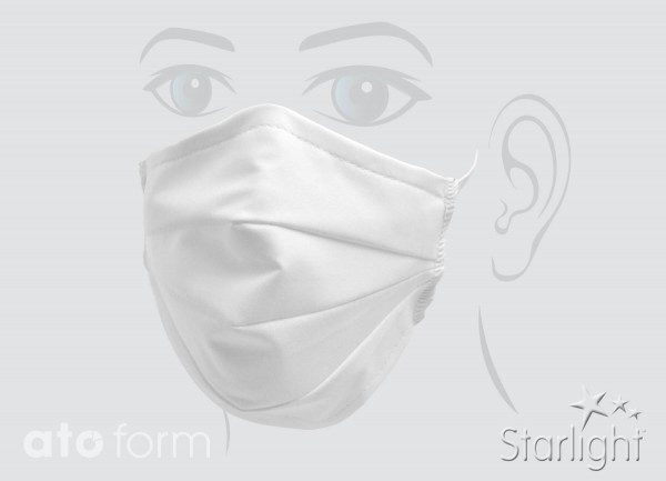 Mund-Nasen-Maske, Baumwolle weiß, drei Abnäher