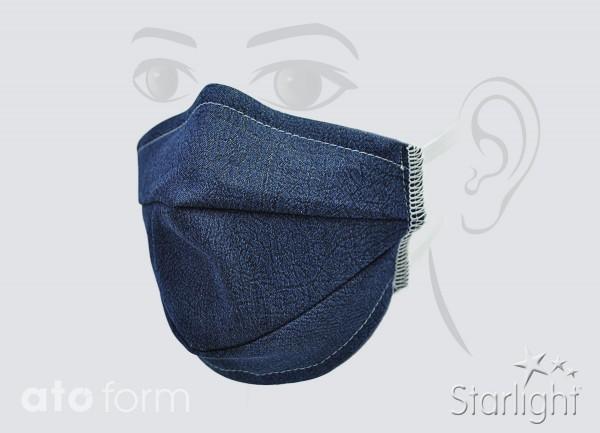 Mund-Nasen-Maske, Jeans blau, zwei Abnäher